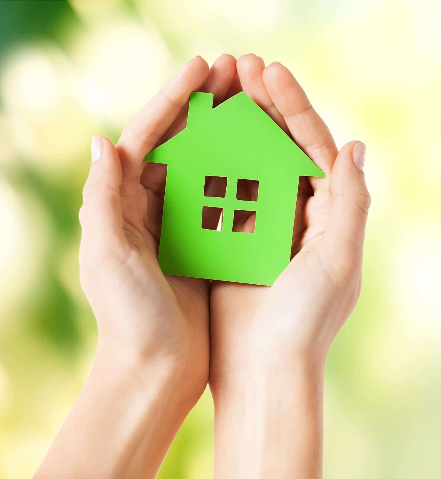 hands holding green cut out of house